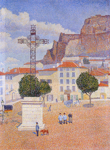 Albert Dubois-Pillet Le Puy: The Sunny Plaza - Hand Painted Oil Painting