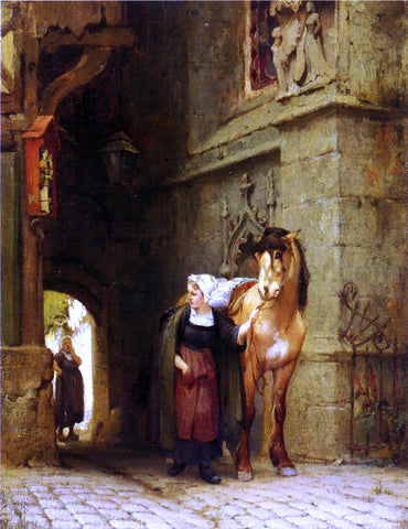 Frederick Arthur Bridgeman Leading the Horse from Stable - Hand Painted Oil Painting