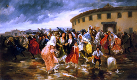 Eugeno Lucas Y Villamil Leaving the Bull Ring in the Rain - Hand Painted Oil Painting