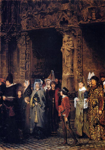 Sir Lawrence Alma-Tadema Leaving the Church in the Fifteenth Century - Hand Painted Oil Painting