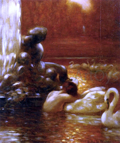 Gaston De Latouche Leda and the Swan at Versailles - Hand Painted Oil Painting