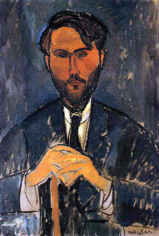 Amedeo Modigliani Leopold Zborowski with Cane (also known as Portrait of Zborowski with Yellow Hands) - Hand Painted Oil Painting