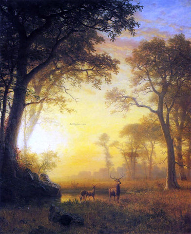 Albert Bierstadt Light in the Forest - Hand Painted Oil Painting