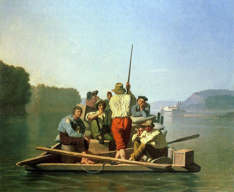 George Caleb Bingham Lighter Relieving the Steamboat Aground - Hand Painted Oil Painting