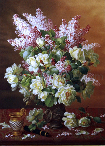 Raoul Paul Maucherat De Longpre Lilacs and Roses - Hand Painted Oil Painting