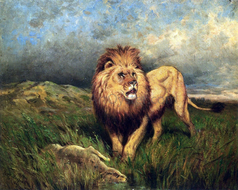 Rosa Bonheur Lion and Prey (also known as The Kill) - Hand Painted Oil Painting
