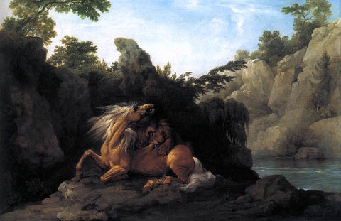 George Stubbs Lion Devouring a Horse - Hand Painted Oil Painting