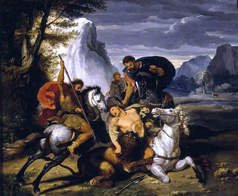 Benigne Gagneraux Lion Hunt - Hand Painted Oil Painting