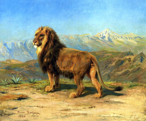 Rosa Bonheur Lion in a Mountainous Landscape - Hand Painted Oil Painting