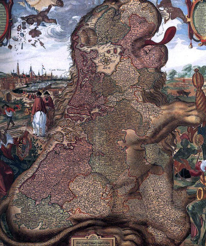 The Younger Claes Jansz Visscher Lion Map (Leo Belgicus) (detail) - Hand Painted Oil Painting
