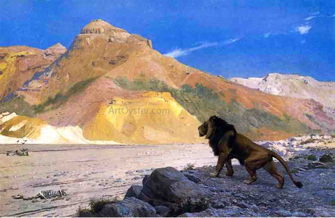 Jean-Leon Gerome Lion on a Cliff - Hand Painted Oil Painting