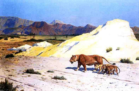 Jean-Leon Gerome Lioness and Her Cubs - Hand Painted Oil Painting