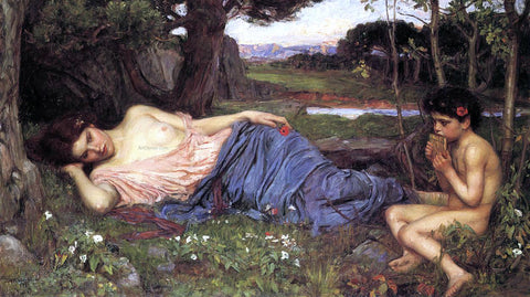 John William Waterhouse Listening to My Sweet Pipings - Hand Painted Oil Painting