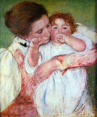 Mary Cassatt Little Ann Sucking Her Finger, Embraced by Her Mother - Hand Painted Oil Painting