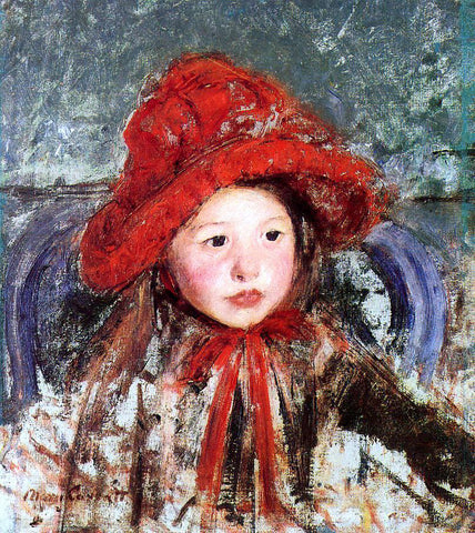Mary Cassatt Little Girl in a Large Red Hat - Hand Painted Oil Painting