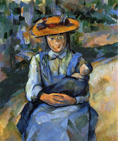 Paul Cezanne Little Girl with a Doll - Hand Painted Oil Painting