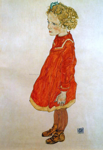 Egon Schiele Little Girl with Blond Hair in a Red Dress - Hand Painted Oil Painting