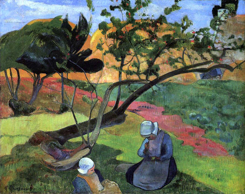 Paul Gauguin Little Girls (also known as Landscape with Two Breton Girls) - Hand Painted Oil Painting