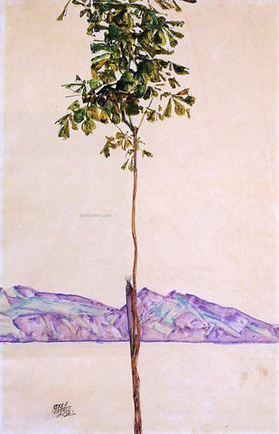 Egon Schiele Little Tree (also known as Chestnut Tree at Lake Constance) - Hand Painted Oil Painting