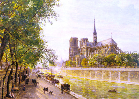 Marie-Francois Firmin-Girard L'lle de la Cite and the Cathedral of Notre Dame, Paris as seen from Quai Montebello - Hand Painted Oil Painting