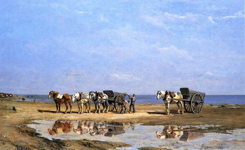 Jules Jacques Veyrassat Loading the Wagon - Hand Painted Oil Painting