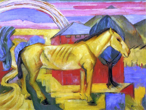 Franz Marc Long Yellow Horse - Hand Painted Oil Painting