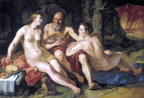 Hendrick Goltzius Lot and his Daughters - Hand Painted Oil Painting