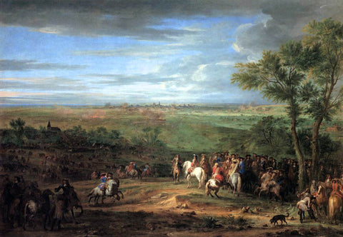 Adam Frans Van Der Meulen Louis XIV Arriving in the Camp in front of Maastricht - Hand Painted Oil Painting
