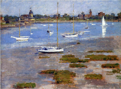 Theodore Robinson Low Tide, The Riverside Yacht Club - Hand Painted Oil Painting
