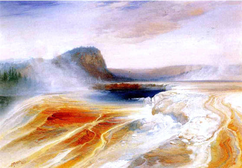 Thomas Moran Lower Geyser Basin - Hand Painted Oil Painting