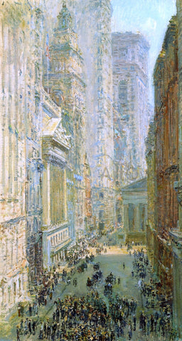 Frederick Childe Hassam Lower Manhattan (also known as Broad and Wall Streets) - Hand Painted Oil Painting
