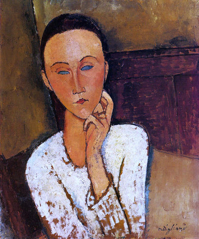 Amedeo Modigliani Lunia Czechowska, Left Hand on Her Cheek - Hand Painted Oil Painting