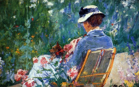 Mary Cassatt Lydia Seated in the Garden with a Dog in Her Lap - Hand Painted Oil Painting