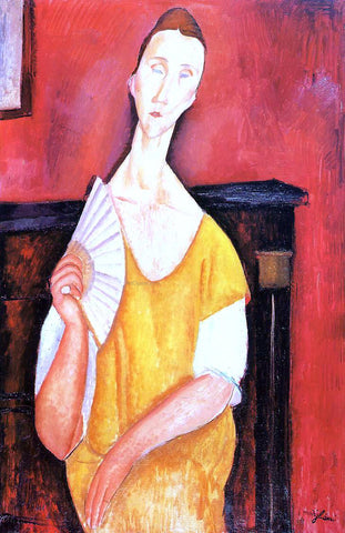 Amedeo Modigliani Madame Lunia Czechowska with a Fan - Hand Painted Oil Painting
