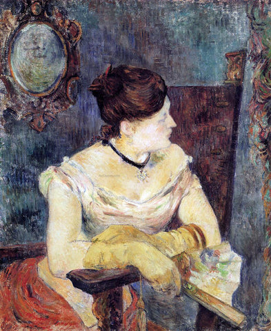 Paul Gauguin Madame Mette Gauguin in an Evening Dress - Hand Painted Oil Painting