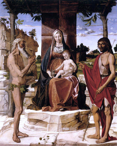 Bartolomeo Montagna Madonna and Child under a Pergola with St John the Baptist and St Onofrius - Hand Painted Oil Painting