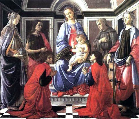 Sandro Botticelli Madonna and Child with Six Saints (Sant'Ambrogio Altarpiece) - Hand Painted Oil Painting