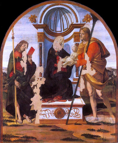 Bartolomeo della Gatta Madonna and Child with Sts James and Christopher - Hand Painted Oil Painting