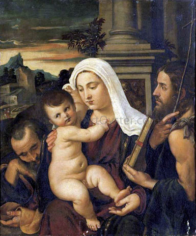 Francesco Vecellio Madonna and Child with Sts Joseph and John the Baptist - Hand Painted Oil Painting