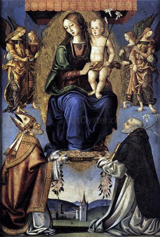 Bernardino Di Mariotto Dello Stagno Madonna and Child with Sts Severino and Dominic - Hand Painted Oil Painting