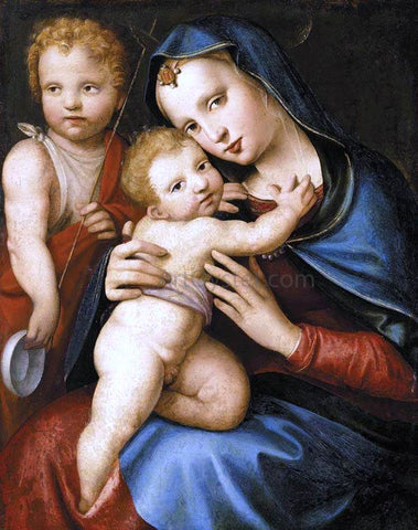 Andrea del Brescianino Madonna and Child with the Infant St John the Baptist - Hand Painted Oil Painting
