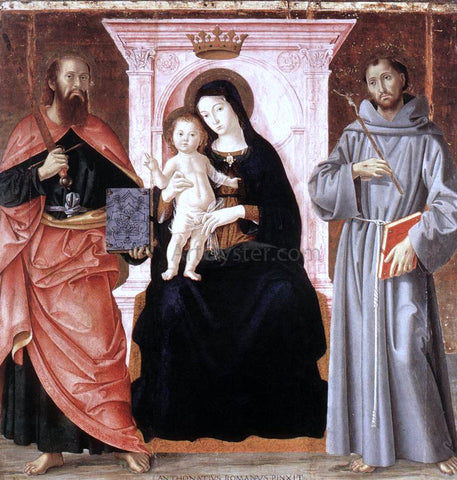 Antoniazzo Romano Madonna Enthroned with the Infant Christ and Saints - Hand Painted Oil Painting