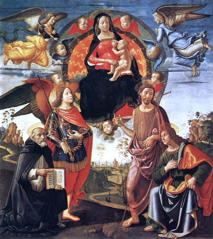 Domenico Ghirlandaio Madonna in Glory with Saints - Hand Painted Oil Painting