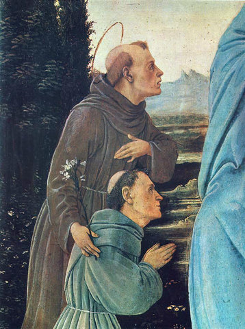 Filippino Lippi Madonna with Child, St Anthony of Padua and a Friar (detail: 1) - Hand Painted Oil Painting