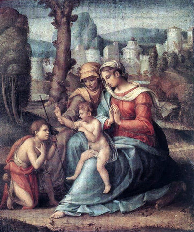 II Francesco Ubertini Bacchiacca Madonna with Child, St Elisabeth and the Infant St John the Baptist - Hand Painted Oil Painting