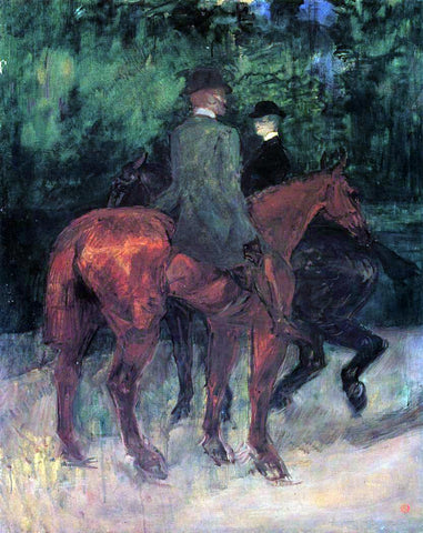 Henri De Toulouse-Lautrec Man and Woman Riding Through the Woods - Hand Painted Oil Painting