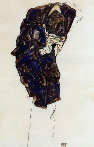 Egon Schiele Man Bencind Down Deeply - Hand Painted Oil Painting