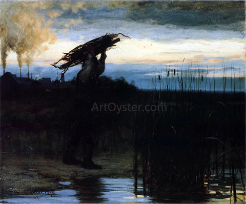 William Gilbert Gaul Man Carrying Sticks at Dusk - Hand Painted Oil Painting