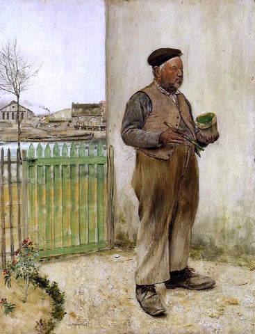 Jean-Francois Raffaelli Man Having Just Painted His Fence - Hand Painted Oil Painting