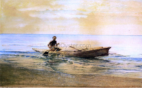 John La Farge Man in Canoe, Samoa - Hand Painted Oil Painting